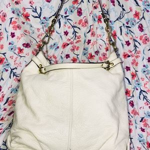White Leather and Gold Coach Brooke Hobo Bag